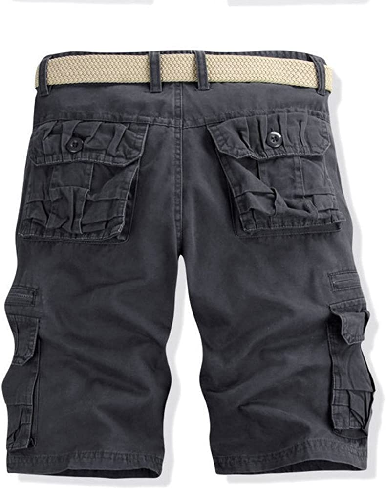 Relaxed Fit Multi-Pocket Cotton Outdoor Wear MODOQO Mens Cotton Cargo Shorts