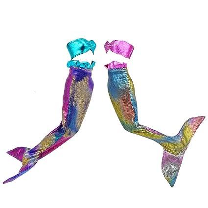 E-TING Faldas Vestir Vestidos Sirena Ropa para muñeca de niña(2pcs Mermaid Blue + Pink)(muñeca no incluida)