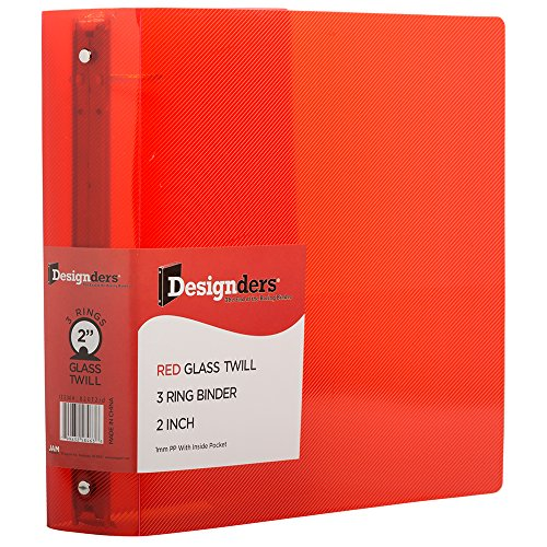 JAM PAPER Plastic 2 inch Binder - Red 3 Ring Binder - Sold Individually