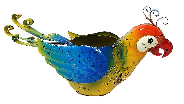 Metal Macaw Parrot Planter Flower Pot Blue
