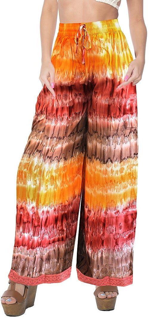 Desgaste del Sal�n Tiedye Pantalones Palazzo Ropa de Playa el�Stico de la Cintura del Pantal�n Holgado Longitud del Tobillo aireado c�Moda