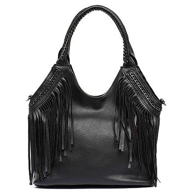 Amazon.com: Monfere - Bolsas de hombro para mujer, con borla ...