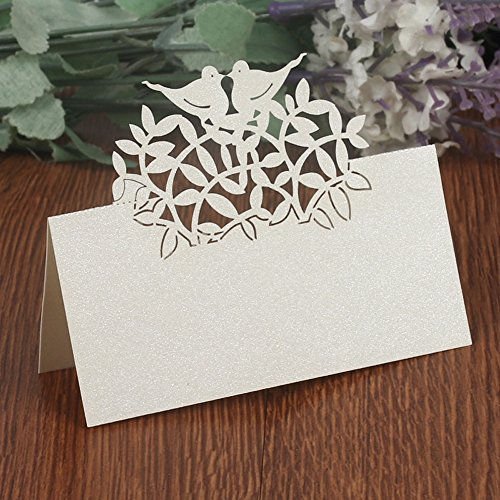 T-shin 50PCS Wedding Guest Name Place Cards Party Table Name Place Cards Paper Table Numbers Place Card Escort Name Card Laser Cut Design for Wedding Party Decoration Favor (Silver-Birds)