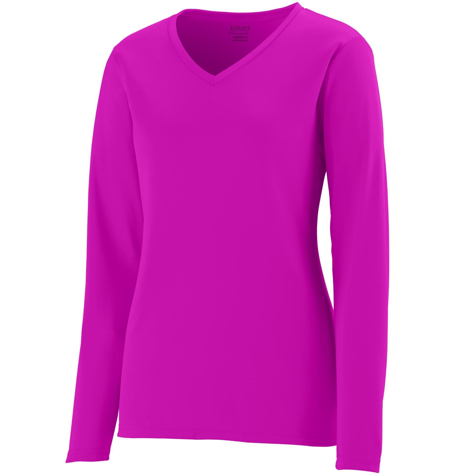 Augusta Sportswear Womens Long Sleeve Wicking T-Shirt, Power Pink, 3X-Large