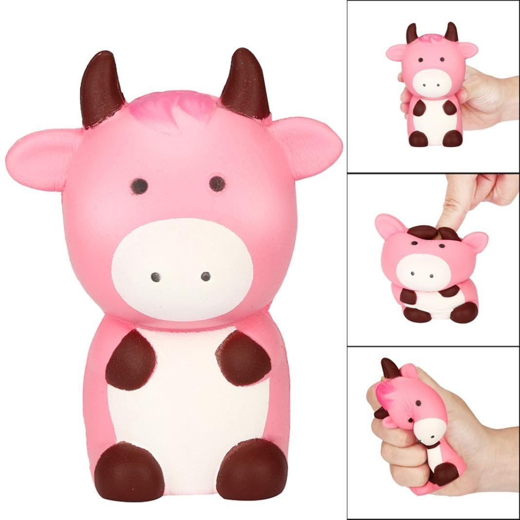 Juguetes compresivos, Squishies Kawaii de Vaca Rosada Squishy Squeeze Toy Slow Rising Decompression Stress Relief Suave