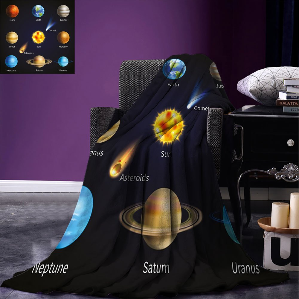 smallbeefly Educational Custom printed Throw Blanket Realistic Solar System Planets and Space Objects Asteroids Comet Universe Space Velvet Plush Throw Blanket Multicolor
