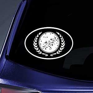 """Bargain Max Decals - Trek United Federation of Planets Sticker Decal Notebook Car Laptop 5"""" (White)"""