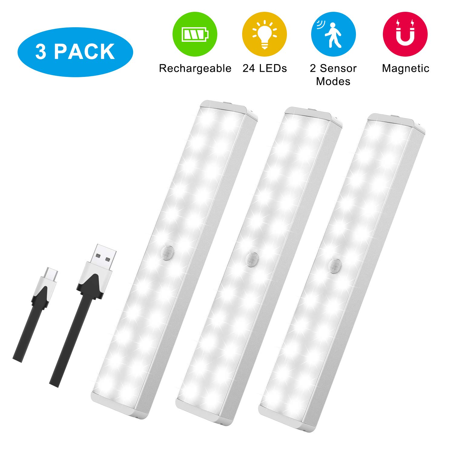 LED Closet Light, 24-LED Rechargeable Motion Sensor Closet Light Wireless Under Cabinet Light Stick on Night Light Bar for Closet Hallway Cabinet Stairway Wardrobe Kitchen 2 Sensor Modes (3 Pack)