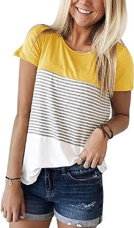 Tuopuda Camisetas para Mujer Casual Manga Corta Camisa Rayas Talla Grande Tops con Cuello Redondo: Amazon.es: Ropa y accesorios