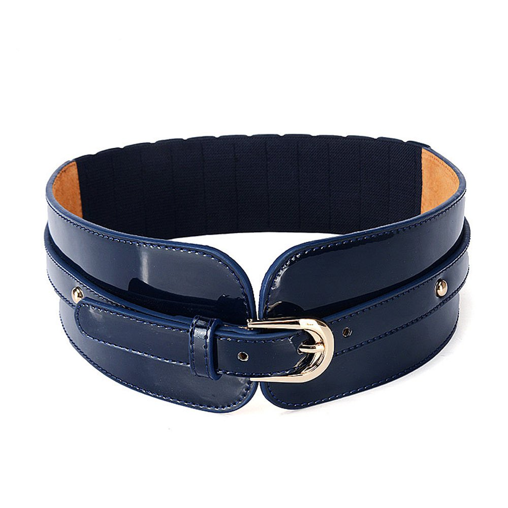 Orinery Elastic Leather Belt For Women Fashion Wide Dress Waist Belt (Blue)