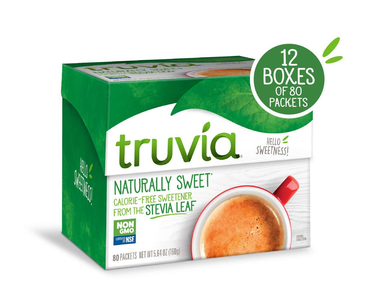 Truvia Natural Stevia Sweetener Packets, 80-Count Carton (Net Wt. 5.64 oz) (Pack of 12) by TRUVÍA