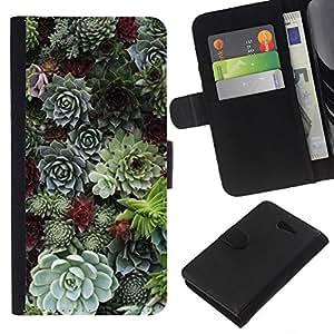 KLONGSHOP // Tirón de la caja Cartera de cuero con ranuras para tarjetas - Cono del árbol natural de la Selva Verde - Sony Xperia M2 //