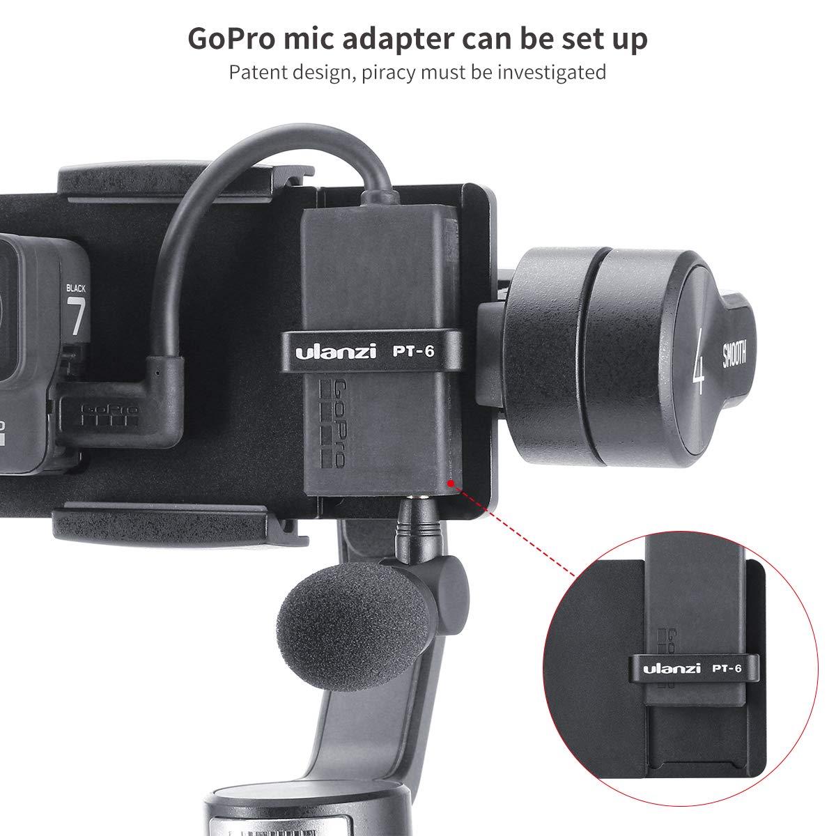para OSMO Mobile Zhiyun Smooth 4 MOZA MINI-S Feiyu Placa adaptador de c/ámara de acci/ón para GoPro Hero 7 6 5 con almacenamiento de micr/ófono