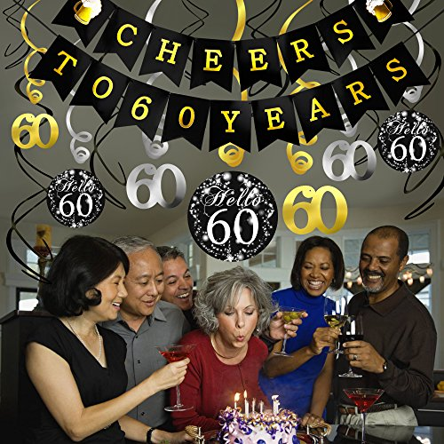 Amazon 60th Birthday Decorations Kit Konsait Cheers To 60 Years Banner Swallowtail Bunting Garland Sparkling Celebration Hanging SwirlsPerfect