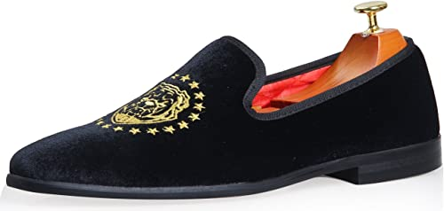 ELANROMAN Men Velvet Dress Loafers Shoes Embroidery Smoking Slipper Slip on Casual Loafers Shoes for Men Black Blue
