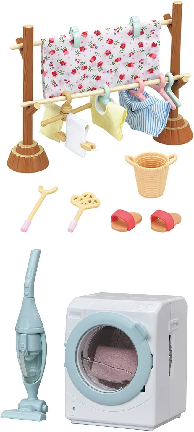2 Sets - Washing and Cleaning Theme - Clothesline and Washing Machine with Vacuum Cleaner (Japan Import)