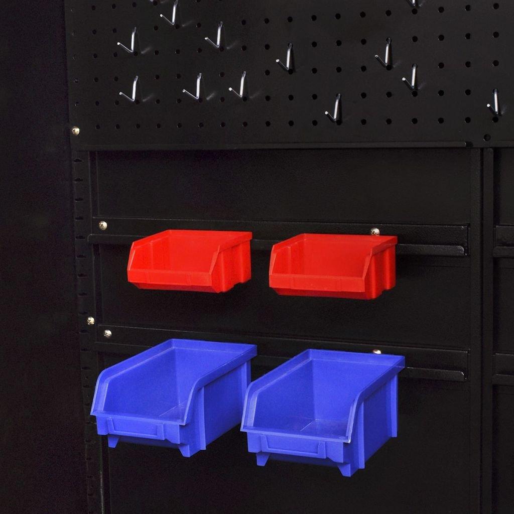 90x40x180 cm Color de Negro y Rojo Material de Acero Festnight Armario de Herramientas con 2 Puertas