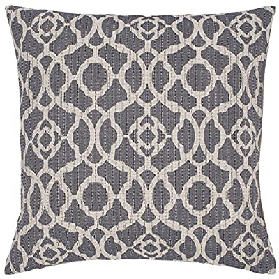 "Stone & Beam Woven Trellis Modern Throw Pillow, 20"" x 20"", Slate Grey - A classic trellis design with a subtle geometric update, along with neutral colors of slate and ivory, make this pillow a standout in a traditional or modern bedroom. For a different look, reverse it to the solid flax-colored side. Pillow cover features hidden bottom zipper 20""L x 20""W, Pillow cover dimensions are measured from seam to seam when cover is laid flat. - living-room-soft-furnishings, living-room, decorative-pillows - 61Khb3iRdpL. SS400  -"