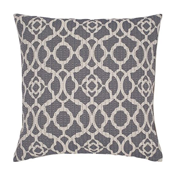 """Stone & Beam Woven Trellis Modern Decorative Throw Pillow, 20"""" x 20"""", Slate Grey - A classic trellis design with a subtle geometric update, along with neutral colors of slate and ivory, make this pillow a standout in a traditional or modern bedroom. For a different look, reverse it to the solid flax-colored side. Pillow cover features hidden bottom zipper 20""""L x 20""""W, Pillow cover dimensions are measured from seam to seam when cover is laid flat. - living-room-soft-furnishings, living-room, decorative-pillows - 61Khb3iRdpL. SS570  -"""