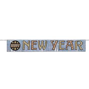 unique party 22933 foil fringe happy new year banner