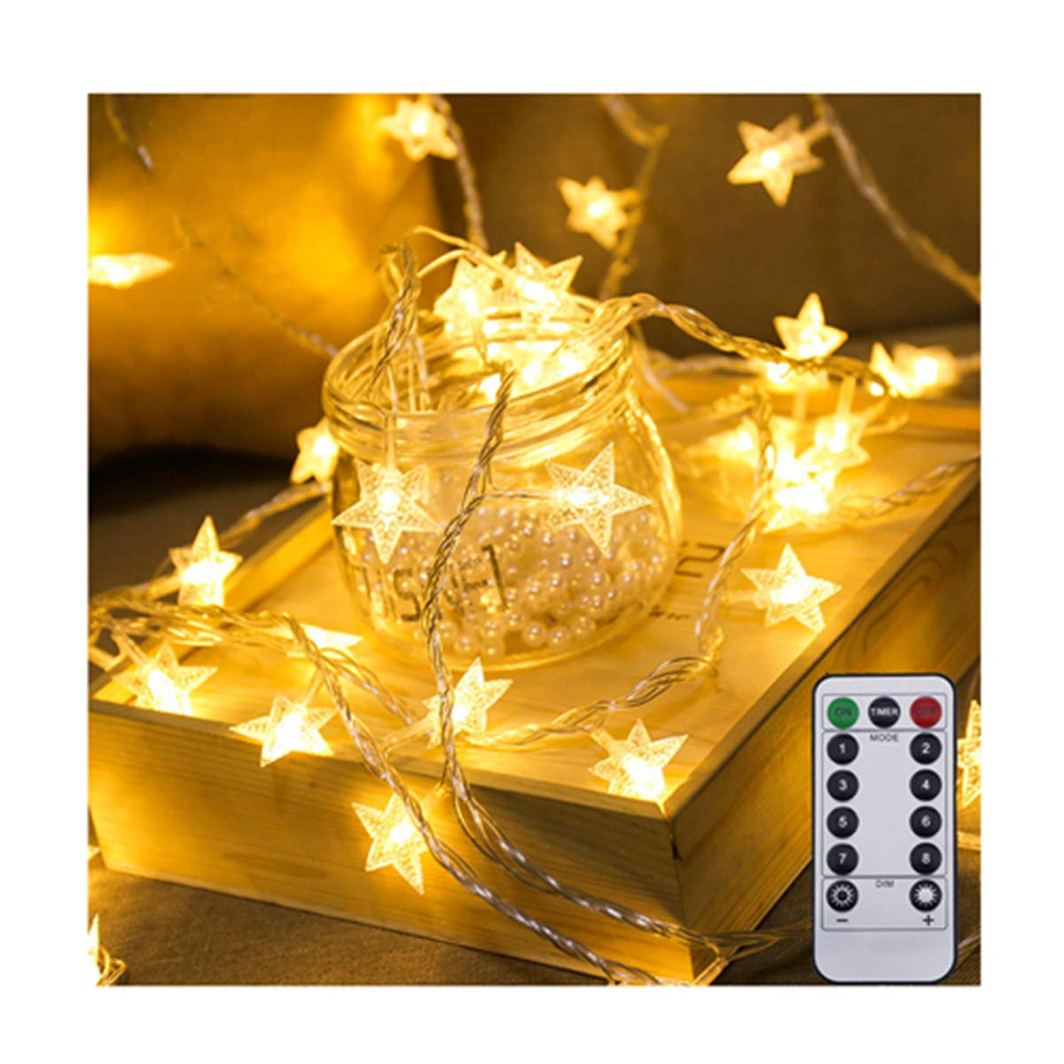 Star String Lights,LED Star Lights Remote Control 17Ft 50pcs USB Indoor Fairy Lights Warm White for Patio Christmas Wedding Bedroom Princess Castle Play Tents Decoration