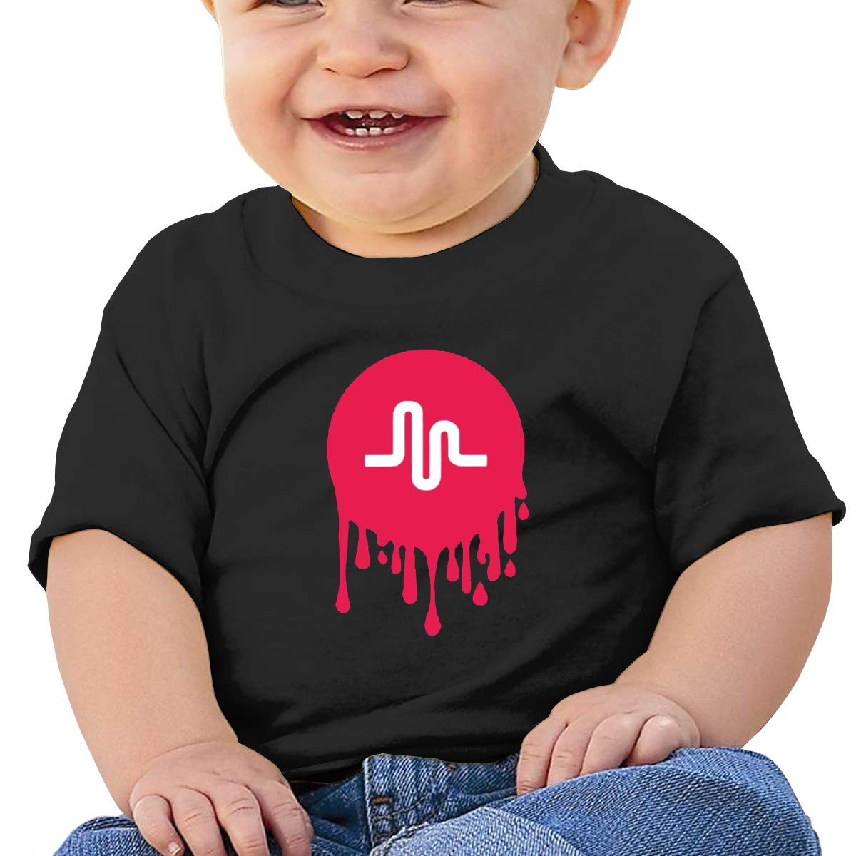 DONGLY 6-24 Month Baby T-Shirt Musically Nordic Winter Personality Wild Black