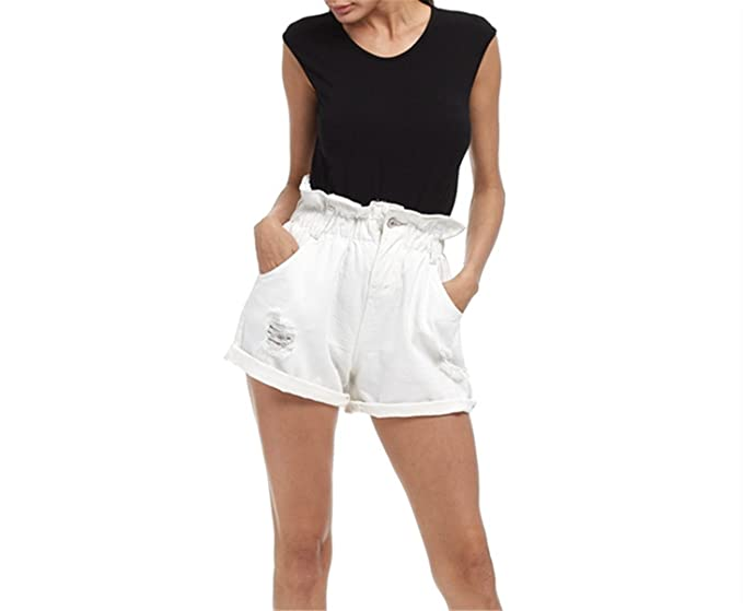1cba28feab24 Profitd Donna Pantaloncini di Jeans Estivi Donna Fascette per arricciature  Larghi Casuali Pantaloni Corti Elastici a Vita Alta Pantaloncini Taglia  Forte  ...