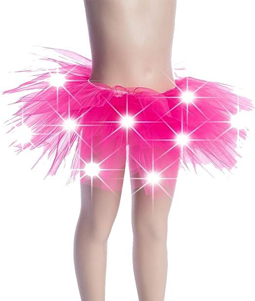 DENGHENG Little Girls LED Light Up Tutu Skirt Neon Colorful Luminous Party Dance Dress