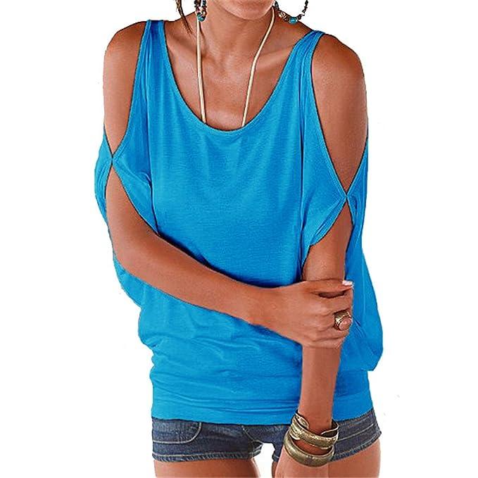 Kommuie Verano Camisas De Hombro Frío Blusas Tops del Batwing Camisetas sin Mangas Camiseta Casual Camiseta