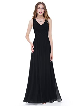 89e32aeab1e Ever-Pretty Womens Sleeveless Ruched Bust Floor Length Evening Dress 4 US  Black