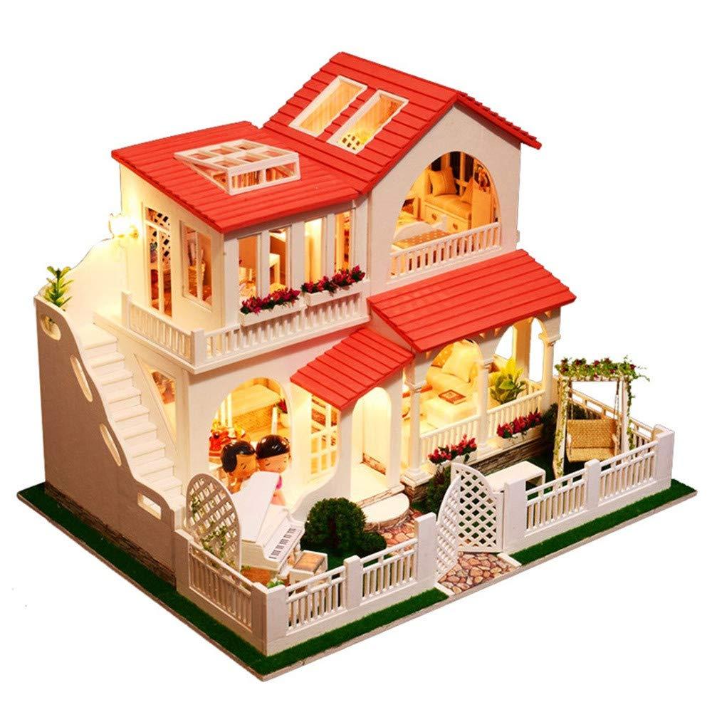 DingLong DIY Süße Villa Puppenstube Miniatur Puppenhaus, DIY Manuelle Montage Dollhouse Kit, Kreativ Geschenk für Kinder Freunde Familie 39x30x30cm