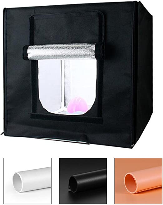 Fotografía Tent Cubo Plegable Caja De Luz con 2 Luces LED (Fondo Blanco/Negro/Naranja) - 40 * 40 Cm: Amazon.es: Hogar