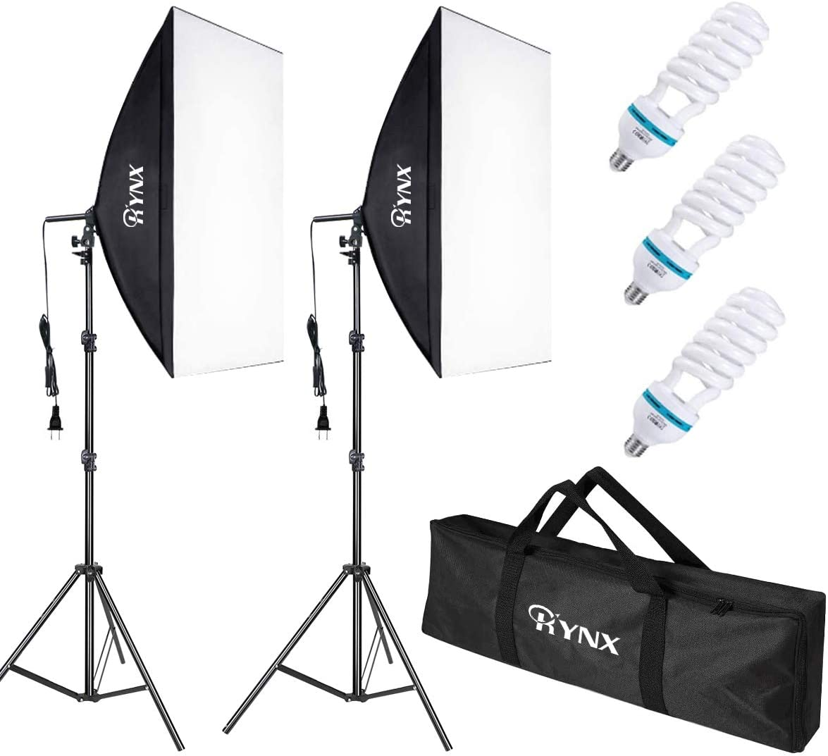 RYNX Softbox Lighting Kit, Professional Studio Photography Continuous Equipment with 135W 5500K E27 Socket Lights and 2 Reflectors 20 x 28 Inch for Portrait Item Fashion Photography