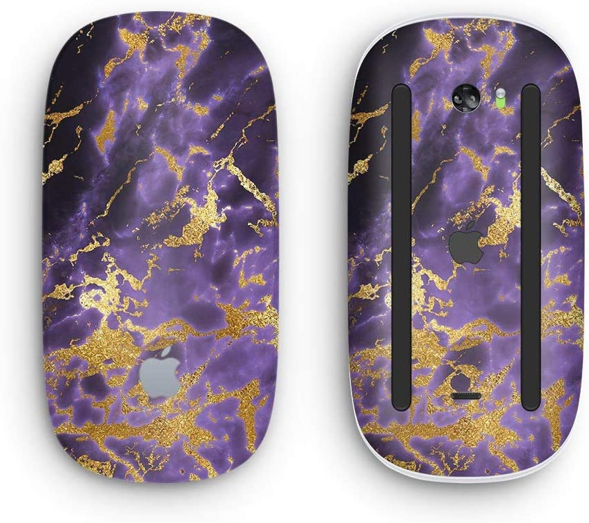 Black /& Gold Marble Swirl V4 Wireless, Rechargable with Multi-Touch Surface Design Skinz Premium Vinyl Decal for The Apple Magic Mouse 2