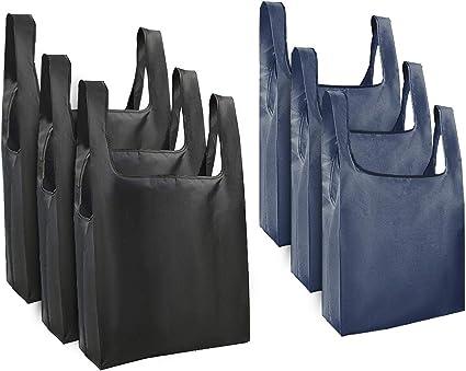 mreechan Borsa shopping riutilizzabile pieghevole 50Lbs extra large 6pz Sacchetti per la spesa Poliestere Resistente lavabile Borse riciclabili per la conservazione del supermercato Uso quotidiano