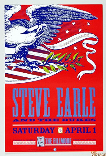 Steve Earl and the Dukes New Fillmore F86 Poster 1989 Apr 1