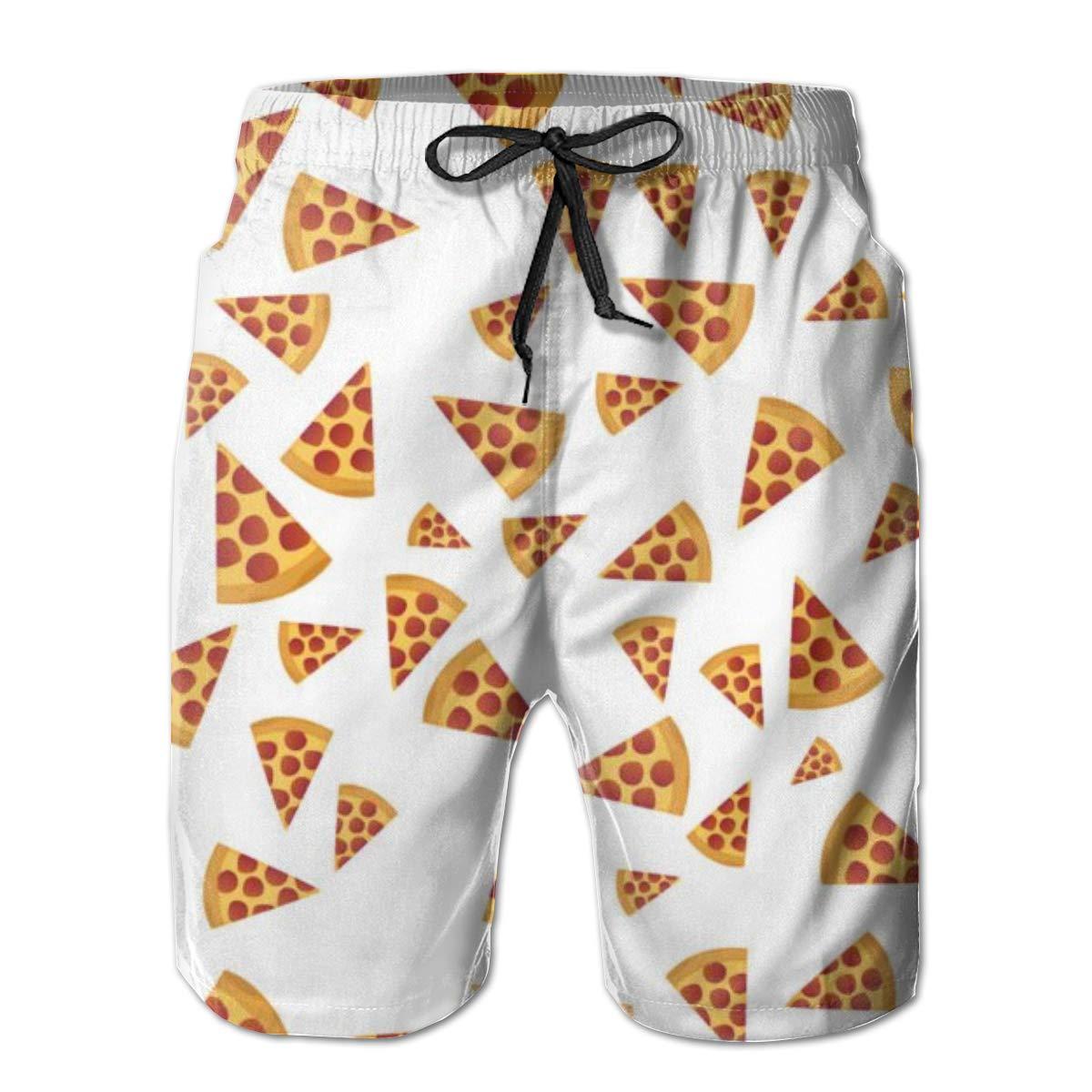 TNIJWMG Mens Board Shorts Funny Pizza Holiday Swim Trunks Mesh Lining