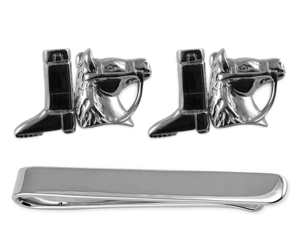 Sterling silver horse & riding boot Cufflinks Tie Clip Box Set
