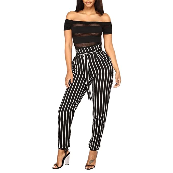 04a157591155 Hosen damen Kolylong Frauen Elegant Gestreifte Hohe Taille Hose Lang  Elastische Beiläufige Hose mit Gürtel Business