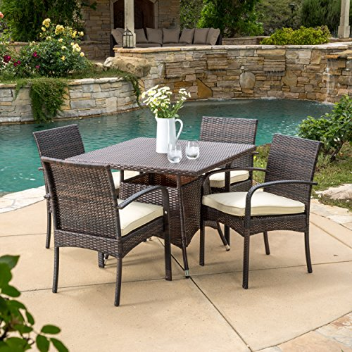 Carmela 5 Piece Outdoor Patio Furniture Wicker Dining Set (Wicker Dining Set)