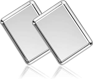 Stainless Steel Baking Sheet Set of 2, Deedro Cookie Sheet Metal Baking Pan Oven Tray, Non Toxic & Heavy Duty, Rust Free & Mirror Finish, Easy Clean & Dishwasher Safe, 9 x 7 x 1 inch