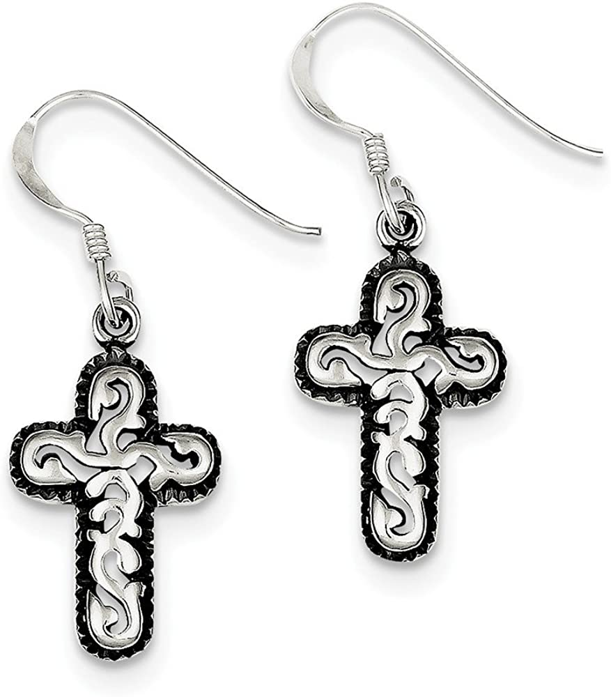 Sterling Silver Antique Cross Dangle Earrings and a pair of 4mm CZ Stud Earrings