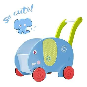 Labebe Push Pull Toys Blue Elephant Walker 2 In 1 Wooden