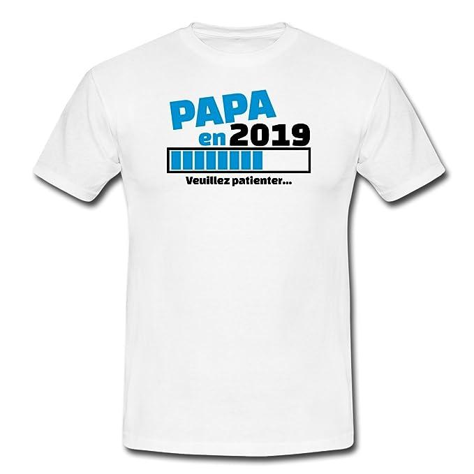 db11b414b835b Spreadshirt Papa en 2019 Veuillez Patienter T-Shirt Homme  Amazon.fr   Vêtements