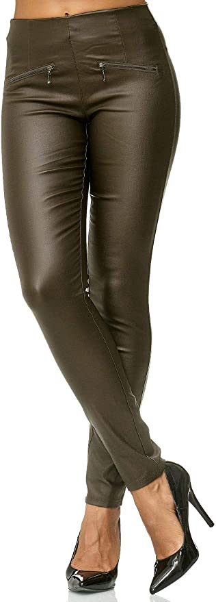 Pantalon Femme Cuir Optique Motard Treggings Synthétique Skinny Stretch Tube