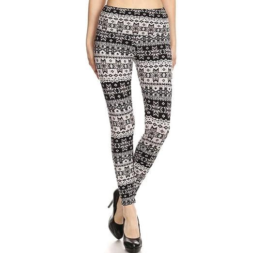 710754943f9bd LAVRA Women's Holiday High Waist Fleece Regular Size Leggings - Small -  Black Snowflake