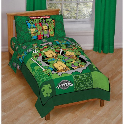 4 Pc Toddler Bed Set: Teenage Mutant Ninja Turtles, Reversible Quilted Bedspread, 1 Pillowcase, Sheet (Teenage Mutant Ninja Turtles Bad Guys)