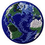Blue Earth Patch World Planet Embroidered Badge Iron On Sew On Embelm