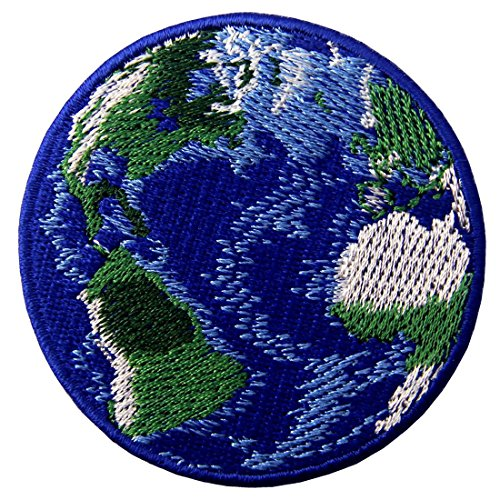 Blue Earth World Planet Embroidered Badge Iron On Sew On Patch (Planet Earth Patches)