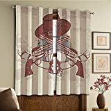 Custom design curtains/Vintage Lace Window Curtain/Grommet Top Blackout Curtains/Thermal Insulated Curtain For Bedroom And Kitchen-Set of 2 Panels(Banner with Two Guns Hat Pistols Poker Ace Cowboy)